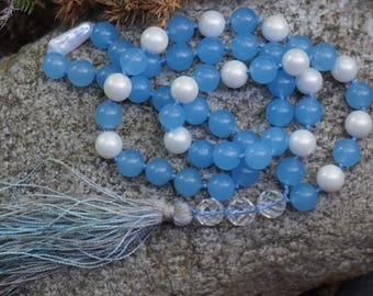 Aquamarine,FreshWater Pearl, River Pearl,Rock Crystal,54 bead mala