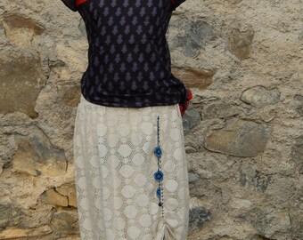 Skirt or Ecru openwork knit skirt