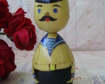 Vintage toy,USSR Soviet wooden figurine,marine,stamped