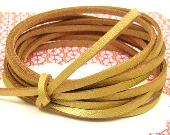 5 m cord 3 mm gold CP12 leatherette