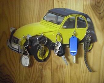 2CV CHARLESTON wall key holder, key hook wall vintage personalized
