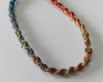 Rainbow spiral hemp yarn bracelet