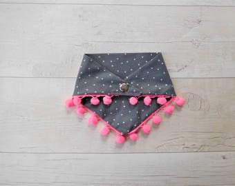 Star Dog Bandana With Neon Pink Pom Poms