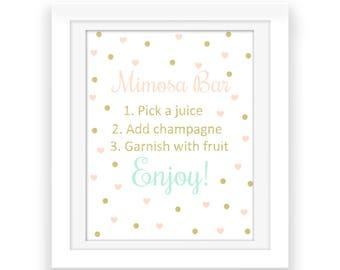 Mimosa Bar Party Decorations - Bubbly Bar Sign - Printables - Wedding Party Print - Bridal Shower Decor - Confetti Print - Digital Download