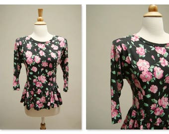 Vintage 80s Peplum Blouse ⎮ 1980s Black And Pink Top ⎮ Vintage Floral Blouse