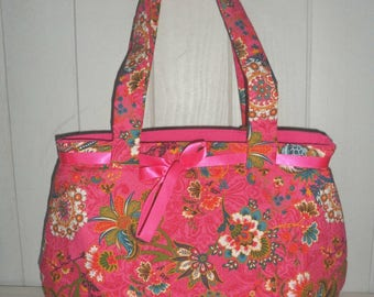 fabric tote bag pink and Indian motifs
