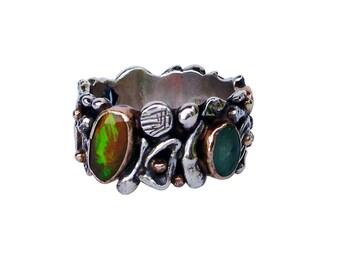 S17-53- anello argento,oro pietre preziose