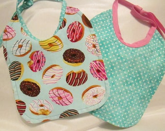 Donuts! Yum! Baby Bib. Teal Dotted Reversible Backing. 100% Cotton. Handmade.