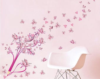 Cherry Blossom Wall Decal, Pink Butterfly Flower Wall Decal, Butterfly Wall Decal, Decals for walls, Tree Wall Decal, Vinyl Wall Decal