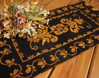 Woven rug Afghan black and yellow baroque rug Farmhouse Rustic decor Handmade rustic rug Rustic home decor Area rug Country decor