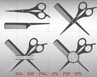 Barber SVG, Hairdresser Monogram SVG with Circle Font, Hair Salon Barber Scissors Clipart Shirt SVG Silhouette Cricut Cut Files