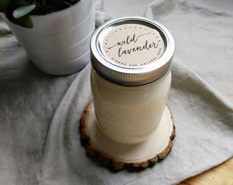 wild lavender - 16 oz mason jar - hand poured soy candle