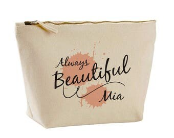 Lovely Always Beautiful Design Canvas Make Up Bag Wash Bag Personalised Gifts for her