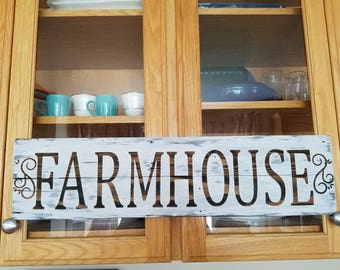 Reclaimed wood plank FARMHOUSE SIGN, customizable