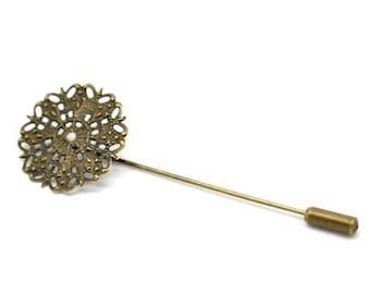 2 pins filigree flower bronze spade