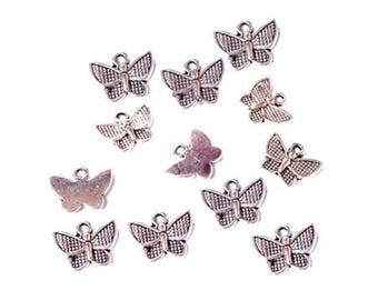 10 charms Butterfly - length 10 x 13 mm - silver