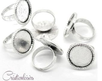 2 accessory stands ring adjustable silver plated (18 mm cabochon) tray