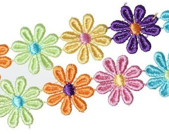 1 M lace polyester multicolor flower