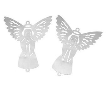 2 connectors prints Angel silver 40 x 34 mm