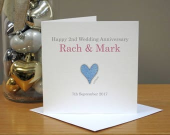 Personalised Cotton (2nd) Anniversary Card - Second Anniversary Card - Cute Anniversary Card - Cards For Husband/Wife - Him/Her/Them/Couple