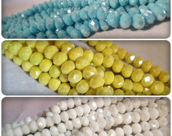 AB Plated rondelle beads, Rondelle beads, AB Plated beads, Faceted rondelles, Faceted beads, Glass beads, Jewellery making, Craft beads, AB