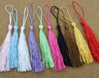13.5cm Tassels, Tassels, Craft tassels, Mini tassels, Tassels with loop, Coloured tassels