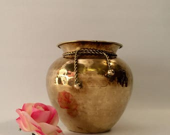 Hammered Brass Planter with Brass Ribbon Accent