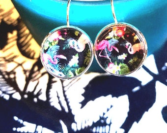 Handmade flamingo cabochon earrings- 16mm