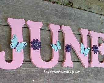 Custom Wood Letters, Painted Wall Letters, Wooden Wall Letters, Letters, Baby Girl Nursery, Floral Design, Pink, Aqua, Purple