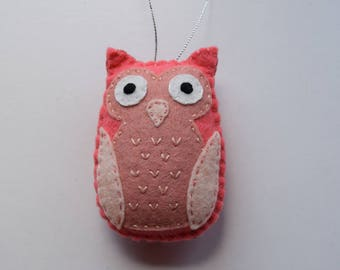 Owl ornament, felt owl ornament, Personalized Christmas Ornament, Ornament for Child, Pink Owl, Felt Christmas Ornament, Colorful Owl