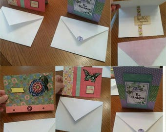 Handmade Set of 4 Different 3D Cards and Some Matching Envelopes, 3 Thinking of You and 1 Health & Happiness Card