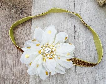Gold bow, gold headband, girls bow, girls headband, baby bow, baby headband, wedding bow, wedding headband , infant bow, infant headband
