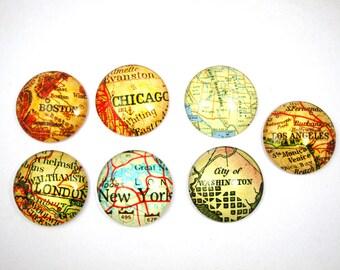 Set of 7 cabochons 25 mm - world maps - 5
