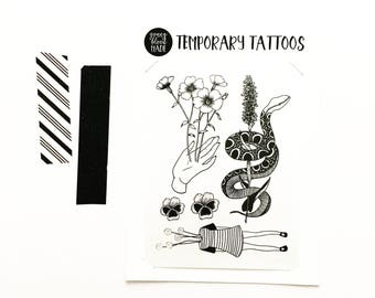 Temporary Tattoo Collection, Original Designs, Floral Tattoo, Snake Tattoo, Craspedia, Billy Balls, Snakeroot, Red Line, Flax, Pansy