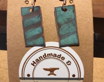 Handmade copper earrings with natural verdigris patina.