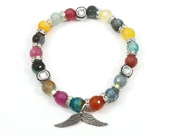Angelic Rainbow~ Handmade Stretch Charm Bracelet~ Genuine Multicolored Faceted Agate~ Sterling Silver Angel Wing Charms~ In Memory