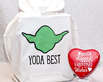 Yoda Best Youth Hoodie & Custom Valentine's Day Heart Tin Valentine's Day Gift Box