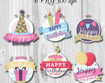6 PNG Birthday badges, B-Day labels, Instant download, Happy birthday badges, Happy birthday's stickers, Badges
