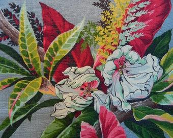 Tropical Barkcloth Fabric, Tropical Floral Barkcloth, Vintage Hawaiian Barkcloth, 40s 50s, Bright Colors, Grey, Burgundy, Green, Bark Cloth