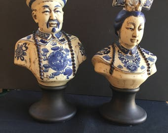 Chinese Ancestor figures blue and white porcelain