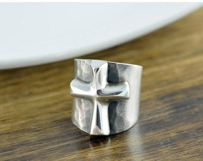 10% off SALE Sterling Silver Raised Cross Band Ring - Cigar Band Ring - Chunky Ring - Statement Ring - Fashion Rings - Cross Ring - Womens R