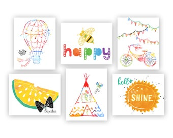 Colorful Playroom Decor, Playroom Art Prints, Craft Room Decor, Kids Wall Art, Be Happy Print, Be Happy Art, Sunshine Nursery Art Print Set