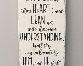 Trust in the Lord, Proverbs 3 5 6 Sign, Proverbs Sign, Inspirational Wall Art, Bible Verse Sign, Scripture Sign, Scripture Wall Art
