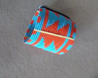 African Maasai Beaded Bracelet | Blue Orange Bracelet | Leather Bracelet | Press buttons fastening | Tribal Bracelet | Gift for Her |