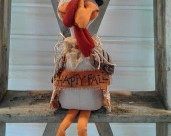 Primitive Turkey - Handmade Doll - Primitive Doll - Primitive Fall Decor - Fabric Turkey - Fall Decor - Thanksgiving Decor - Thanksgiving -