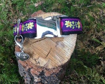 "Dog collar ""Purple floret"""