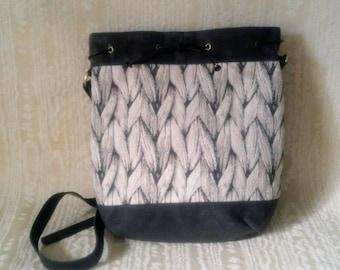The Diva Crossbody Tote Bag, Waxed Canvas, Canadian Made, 1867Shop, Handmade, Bucket Bag, Knitting Look Tapestry, Braids