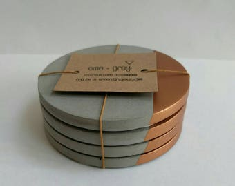 Concrete Coasters - Set of 4 Concrete Cement Coasters. Copper. concrete homeware