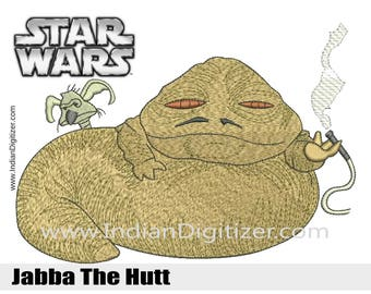 Star Wars - Jabba The Hutt - Embroidery Design in 4 sizes: - 4in, 5in, 6in & 7in - instant download.