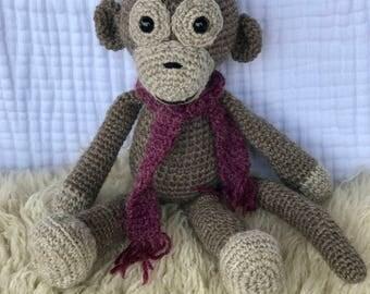 Crocheted Monkey, Child's Plush Monkey, Plush Toy, Stuffed Animal